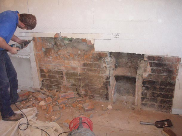 Removed fireplace. Client requested recess 1m left of original.