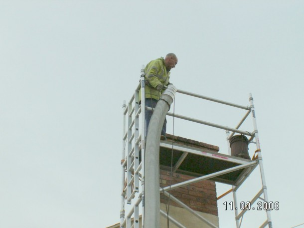 The liner is always installed from the top of the chimney
